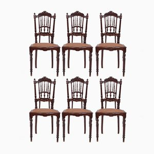 Antique Carved Wood Dining Chairs, Set of 6