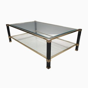 Vintage 2-Tiers Brass Coffee Table by Pierre Vandel, 1980s