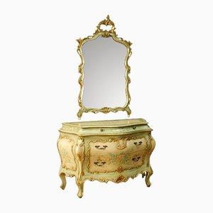 Cómoda veneciana vintage con espejo