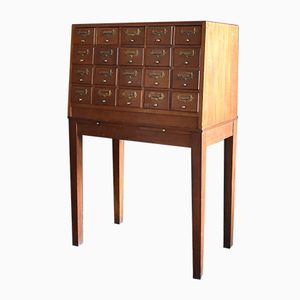 Mid-Century Teak Library Card Filing Cabinet on Stand