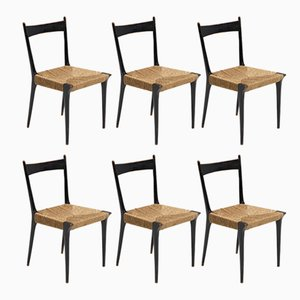 S2 Woven Cane Chairs by Alfred Hendrickx for Belform, 1950s, Set of 6