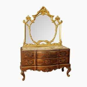Cómoda italiana estilo antiguo de madera lacada y dorada con espejo, años 60
