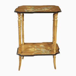 Antique Style Lacquered, Gilded & Painted Wooden Side Table, 1960s