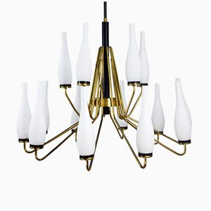 Lámpara de araña con 15 puntos de luz de Stilnovo, años 50