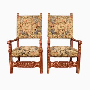Antique Style French Painted Wooden Armchairs, 1960s, Set of 2