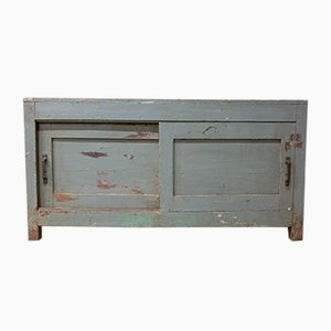 Vintage Workshop Cabinet with Sliding Doors