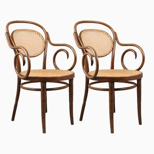 Mid-Century Stühle aus Bugholz & Schilfrohr, 2er Set