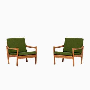 Poltronas de teca de Illum Wikkelso para Niels Eilersen, años 60. Juego de 2