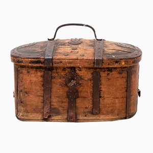 18th-Century Swedish Pine Travel Trunk