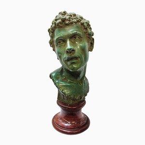 Grand Buste d'Auguste Antique en Bronze et Marbre Rose par Louis Moreau