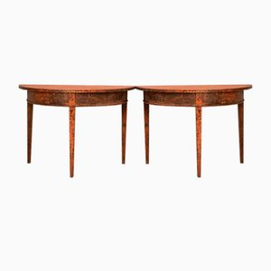 19th-Century Swedish Demi-Lune Console Tables, Set of 2