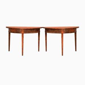 Tables Consoles Demi-Lune, Suède, 19ème Siècle, Set de 2