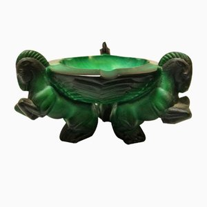 Art Deco Malachite Horses Ashtray