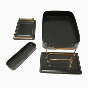 Vintage Leather Desk Set by Jacques Adnet, 1950s