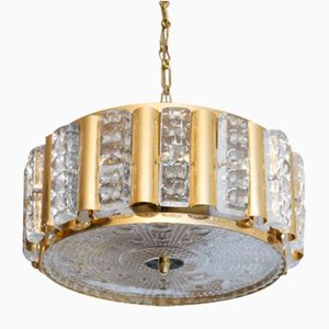 Crystal & Brass Chandelier from Orrefors, 1960s