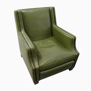 Green Leather Armchairs, 1970s, Set of 2