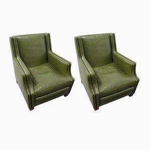 Poltrone in pelle verde, anni '70, set di 2