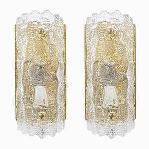 Glass Wall Sconces by Carl Fagerlund for Orrefors, 1960s, Set of 2