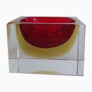 Cherry Red & Amber Sommerso Murano Glass Ashtray, 1970s