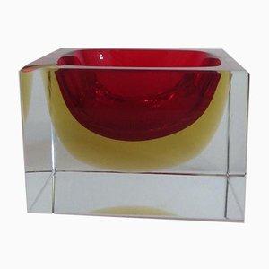 Sommerso Aschenbecher aus kirschrotem & bernsteinfarbenen Muranoglas, 1970er