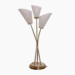 French Perforated Metal & Brass Table Lamp from Lunel, 1950s