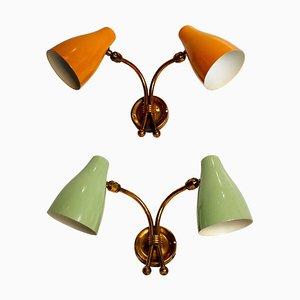 Zweifarbige Wandlampen, 1950er, 2er Set