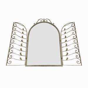 Vintage Brass Mirror with Grill