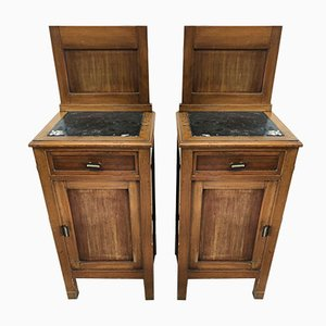 Antique Nightstands with Marble Top, Set of 2