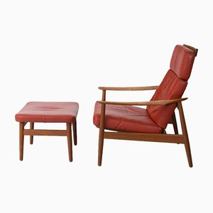 Mid-Century Model 164 Leather Armchair with Footstool by Arne Vodder for France & Søn