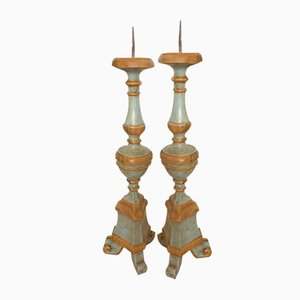 Antique Wooden Candlesticks, Set of 2