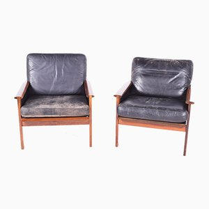 Danish Model Capella Rosewood and Leather Armchairs by Illum Wikkelsø for Niels Eilersen, 1960s, Set of 2