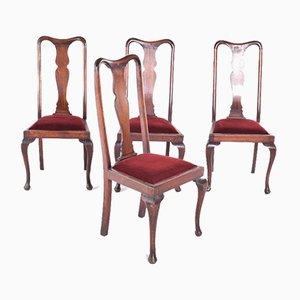 Antike Queen Anne Esszimmerstühle, 4er Set