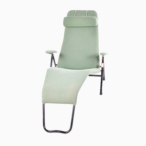 Danish Iron & Green Upholstered Chaise Longue, 1960s