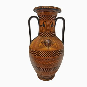 Greek Style Hand Painted Amphora Vase, 1940s