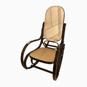 Rocking Chair Vintage en Paille de Vienne