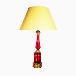 Grande Lampe en Verre de Murano Teinté et en Bronze Doré, 1950s