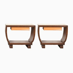 Italian Wooden Nightstands by Valzania, 1930s, Set of 2