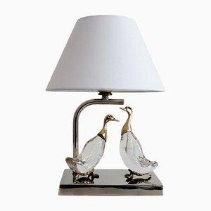 Lámpara de mesa francesa con patos, años 60