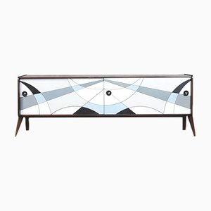 Norwegian Modern Walnut Sideboard with Hand-Painted Pattern in Blue, 1960s
