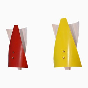 Niederländische Wandlampen in Rot & Gelb, 1960er, 2er Set