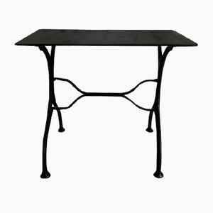 Mesa de jardín vintage de metal negro, años 50