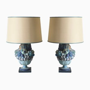 Italian Carved Wood & Stucco Blue Table Lamps, 1960s, Set of 2