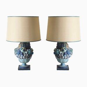Lámparas de mesa italianas de madera tallada y estuco azul, años 60. Juego de 2