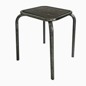 Vintage Industrial Metal & Varnished Wood Stool, 1960s
