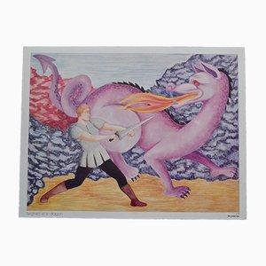 Póster de dos caras con dragón de C. Aubin para Scolavox, años 60