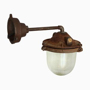 Industrial Cast Iron Wall Light with Holophane Glass, 1950s