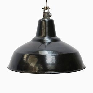 Industrial Black Enamel Hanging Lamp, 1950s