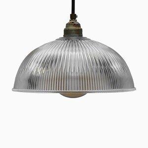 Lámparas colgantes industriales de vidrio de Holophane, años 50