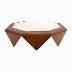 Rosewood & Marble Inlay Coffee Table by Jorge Zalszupin, 1960s