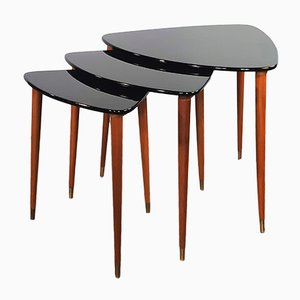Mid-Century Teak & Black Lacquered Nesting Tables, 1960s, Set of 3